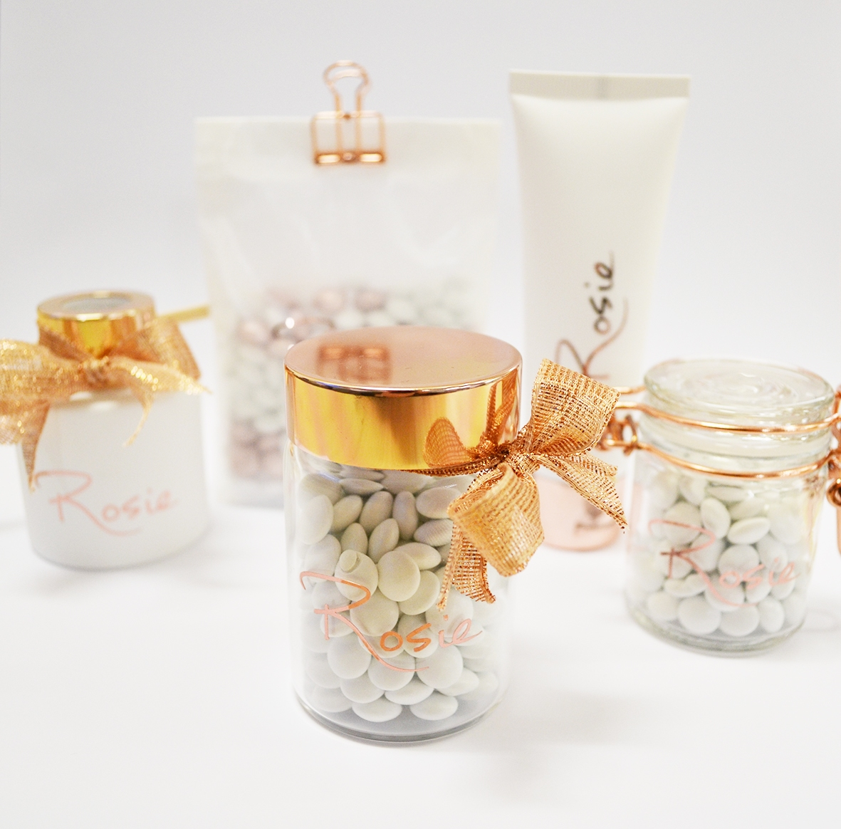 Glazen potje met rosé gouden dekseltje