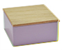 Lila vierkant blikje met houten dekseltje