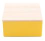 Geel vierkant blikje met houten dekseltje