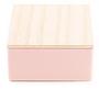 Wit roze blikje met houten dekseltje