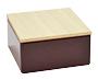 Chocolate vierkant blikje met houten dekseltje