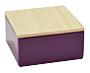 Violet vierkant blikje met houten dekseltje