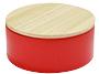 Metalen doosje rood met houten dekseltje