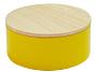 Metalen doosje geel met houten dekseltje