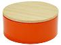 Metalen doosje oranje met houten dekseltje