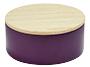 Metalen doosje violet met houten dekseltje
