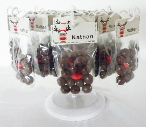 snoepzakje met kerst-label rendier
